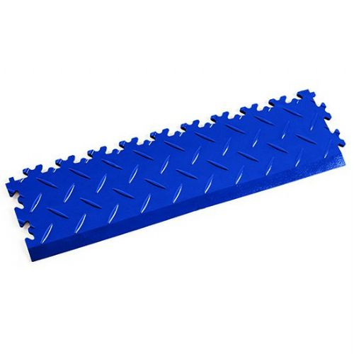 MotoLock Interlocking Tile Edging (Blue Diamond-plate)
